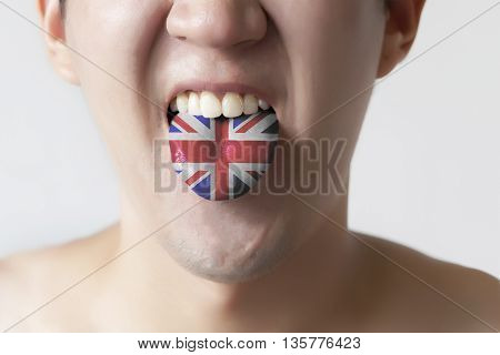 Great Britain Flag Painted In Tongue Of A Man - Indicating English Language And British Accent Speak