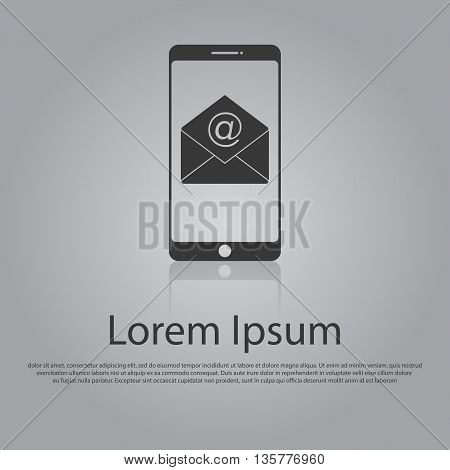 Vector Icon Concept Of Email Or Texting On Mobile Phone