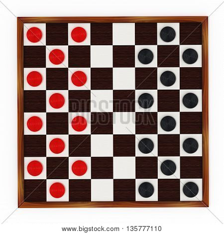 Checkers game board and pieces. 3D illustration.