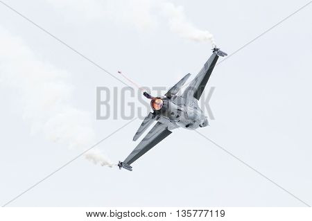Leeuwarden, The Netherlands-june 10, 2016: Belgium - Air Force General Dynamics F-16 Am At The Dutch