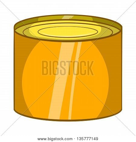 Tin packaging icon in cartoon style isolated on white background. Production and packaging symbol