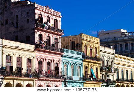 The architecture on the mainstreet of Havana Cuba
