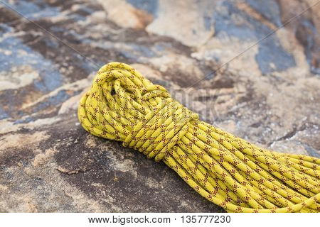 High angle view of ropes on rock at forest