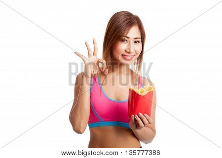 Asian Healthy Girl Eat  French Fries Show Ok Sign