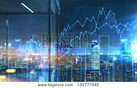 Back view of young businessman standing on panoramic balcony with Singapore city view and business chart at night. 3D Rendering