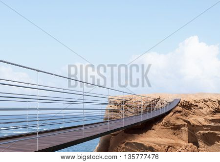 Business risk and success concept with bridge leading to cliff on sea and bright sky background. 3D Rendering