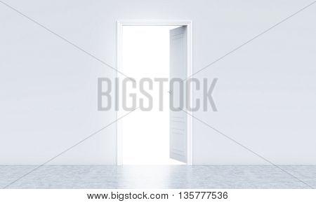 Open Door In Concrete Interior