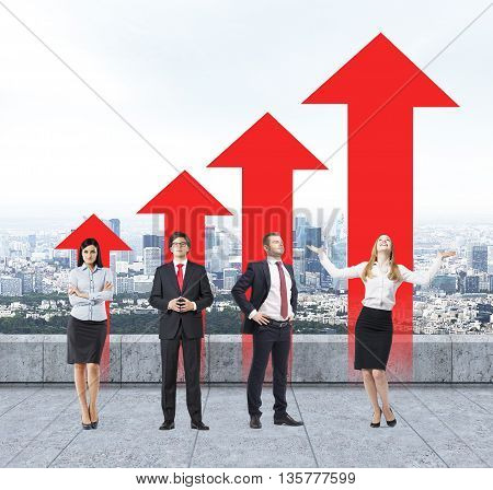 Success concept with young businesspeople and red arrow chart on foggy city background