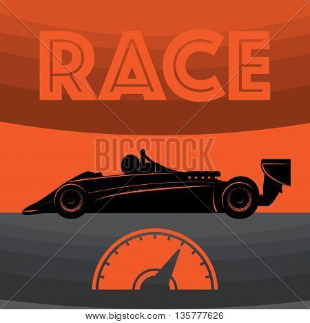 Abstract red Race car poster, vector illustration