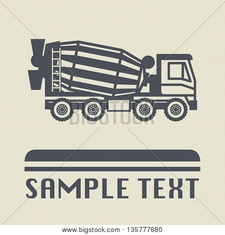 Concrete Mixer Truck icon or sign, vector illustration