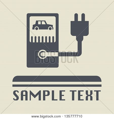 Electric car station icon or sign, vector illustration