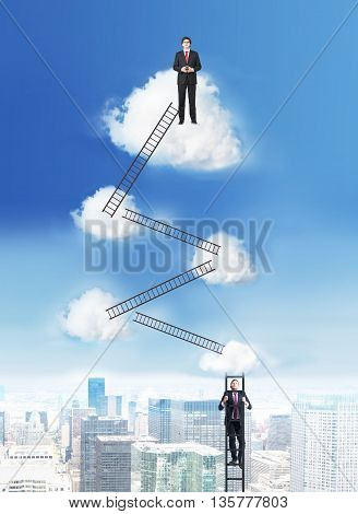 Success and competition concept with businessmen climbing ladders to the cloud top on New York city background