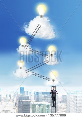 Success and idea concept with businessman climbing ladders to the cloud top with abstract lightbulbs on New York city background