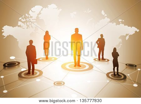 Global social networking concept with map abstract network and businesspeople silhouettes on light background with sunlight