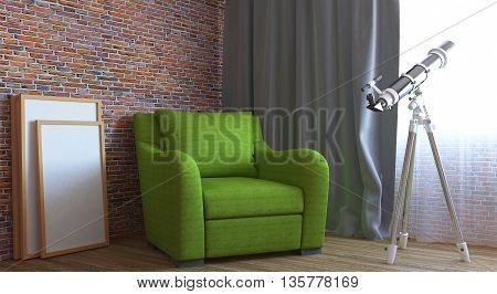 3D interior rendering in a small apartment
