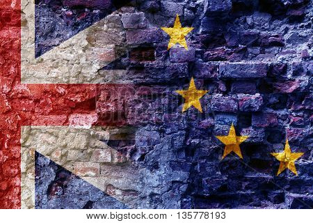 Brexit flags of the European Union and the United Kingdom as overlay on an old brick wall of a ruin politics background concept