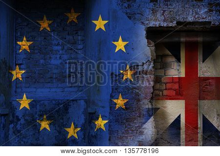 Brexit flags of the European Union and the United Kingdom as overlay on an old brick wall texture of a ruin politically concept