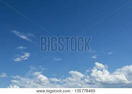 Clouds on the blue sky. Clear sunny weather.