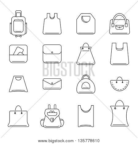 vector icons set of shopping bags isolate on light background. Set icons in modern line style.