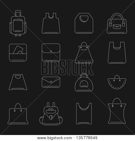 vector icons set of shopping bags isolate on dark background. Set icons in modern line style.