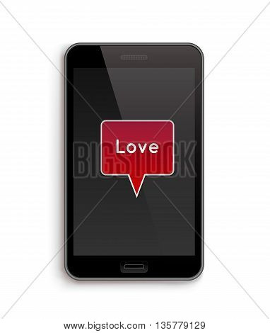 Love on Phone. Vector illustration of smart phone. Happy Valentines Day on Mobile. Phone screen with Hearts.