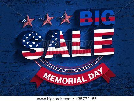 Memorial Day. Big Sale Vector Illustration. Background