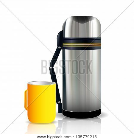 Thermos and mug isolated on white background. Vector illustration
