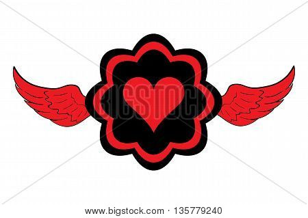 Winged icon with red black symbol of heart