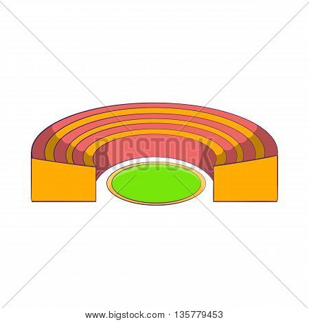 Semicircular stadium icon in cartoon style isolated on white background. Sports facility symbol