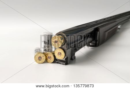 cartridges 12 gauge lying on a light background in close up view side.