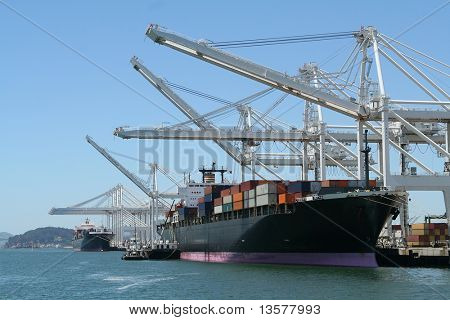 Shipping port with cranes and ships