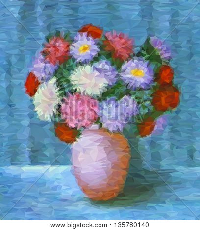 Flowers, Bouquet of Asters in a Pot, Low Poly Geometrical Polygonal Colorful Pattern. Vector