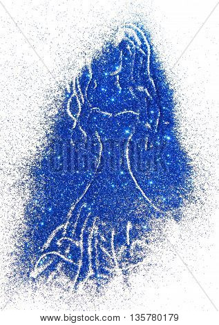 Silhouette of a girl in the dress of blue glitter on white background