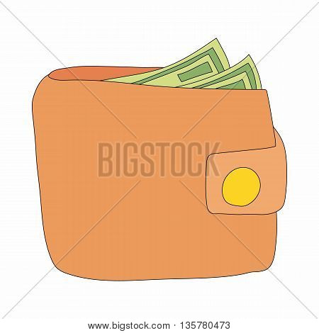 Brown wallet with cash icon in cartoon style on a white background