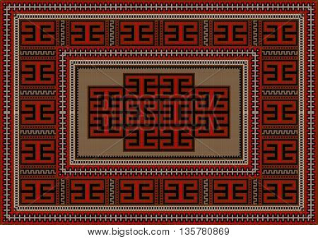 Vintage carpet with ethnic geometric ornament on beige center