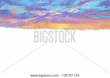 Watercolor Style Digital Artwork: The Glory Sky Letter Paper Background Print Notebook Cover. Realistic Fantastic Cartoon Style Character, Background, Wallpaper, Story, Card Design