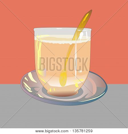 Illustration glass cup of tea latte on a glass saucer and gold teaspoon