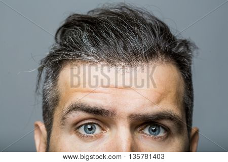 Male Face With Scared Eyes