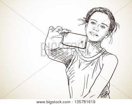 Teenage girl taking selfie, Vector sketch, Hand drawn illustration