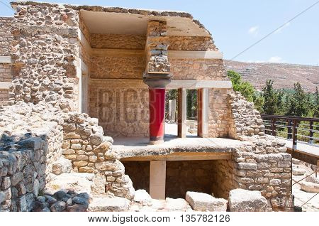 Knossos palace in the midday on the island of Crete Greece.