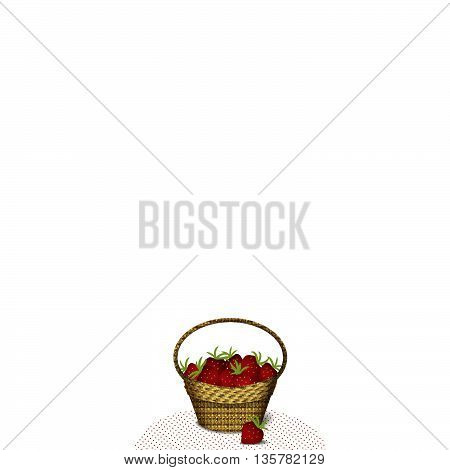 Wicker basket with strawberries on the tablecloth isolated on white background, vector illustration