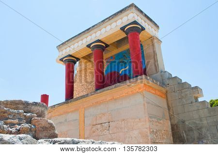 North Entrance of Knossos palace on the Crete island Greece.