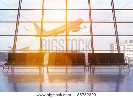 Airport terminal interior with seats windows with city view sunlight and an airplane flying by. 3D Rendering