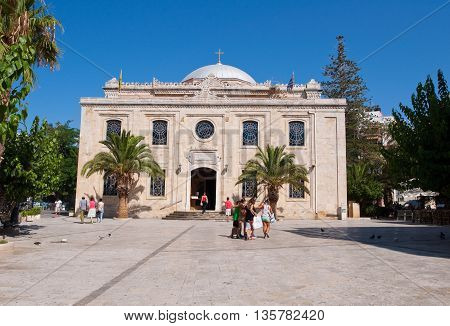 HERAKLION CRETE-JULY 25:The basilica of St. Titus on July 252014 in Heraklion on the Crete island Greece.