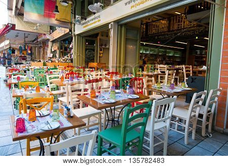 HERAKLION CRETE-JULY 21: Colorful cafe on July 212014 in Heraklion city on the Island of Crete Greece.