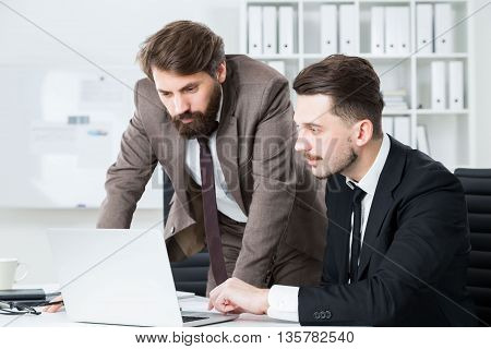 Concentrated Businessmen Discussing Business Project