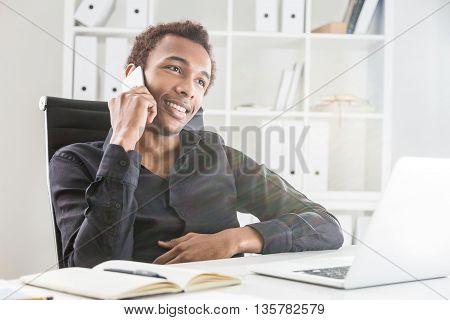 Happy Black Man On Phone