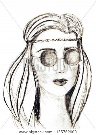 Beautiful hippie girl in round glasses, charcoal drawing. Fashion illustration. Charcoal sketch on white background