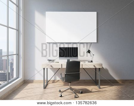 Minimalistic office interior with blank whiteboard wooden floor concrete wall window with New York city view and workplace with computer. Side view. Mock up 3D Rendering