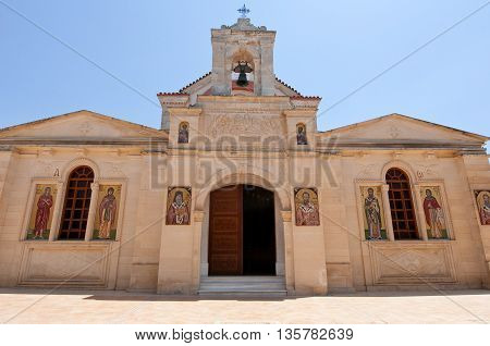 HERAKLION CRETE-JULY 25: Facade of the Monastery of Panagia Kalyviani on July 25 on the Crete island Greece. The Monastery of Panagia Kalyviani is located 60km south of Heraklion.